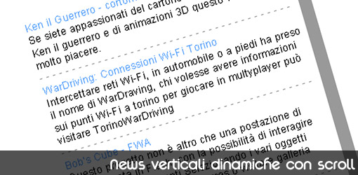 News verticali dinamiche con scroll